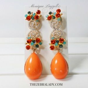 Jewelry - Coral  pierce long earrings with crystals